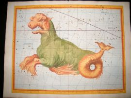 Flamsteed Atlas Coelestis 1781 LG Folio Hand Col Celestial Map. Cetus Monster 11